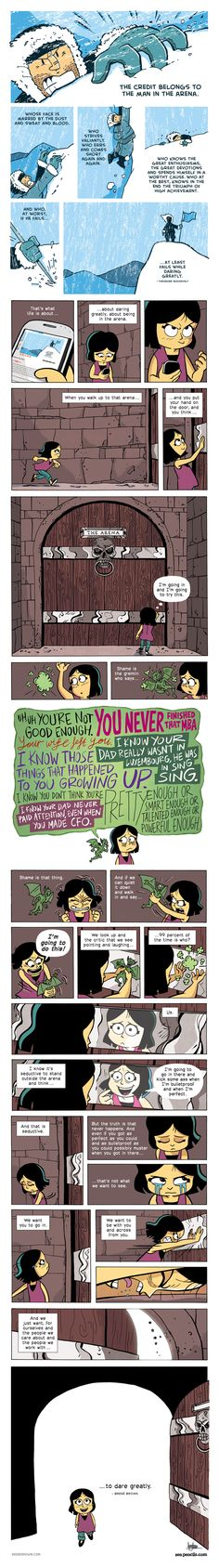 Gavin Aung Than is a cartoonist based in Melbourne, Australia and creator of Zen Pencils, a cartoon blog which adapts inspirational quotes into comic stories.   Brene Brown