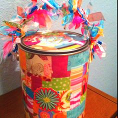 Decorated paint can Paint Buckets, Paint Cans, Tin Can Crafts, Fun Crafts, Cute Gifts, Baby Gifts, Aluminum Cans, Crafty Craft, Craft Supplies