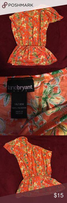 Lane Bryant one sleeve multi print blouse Lane Bryant one sleeve multi print blouse size 14/16W Lane Bryant Tops Blouses
