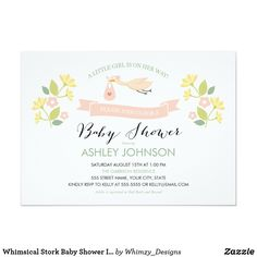 Whimsical Stork Baby Shower Invitation 5x7 Whimsical floral and stork baby girl shower invitation. Customizable.