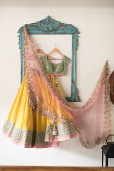 Anushree Reddy Yellow #Lehenga With Green Embroidered #Blouse & Pink Dupatta.