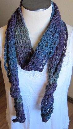 Crochet Skinny Scarf made in Red Heart Boutique in by Kitkateden, $18.00