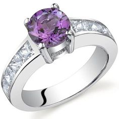 Oravo Sterling Silver Round-cut Gemstone and Square Cubic Zirconia Ring (Amethyst Size 7), Women's, Purple