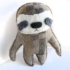 Big Brown Sloth Recycled Wool Sweater Plush Toy by sighfoo Big Brown, Wool Sweaters, Sloth, Some Fun, Hand Stitching, Fun Facts, Dinosaur Stuffed Animal, Unique Gifts, Recycling