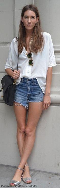 Spring / summer - street style - beach look - Sheer white blouse + denim shorts + metallic sandals