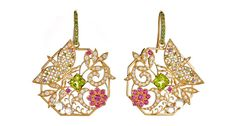 Shaill Jhaveri . The Mosaique Butterfly and Flower Earrings in 18-karat yellow gold with white diamond, peridot, ruby, moonstone, tsavorite garnet and blue topaz