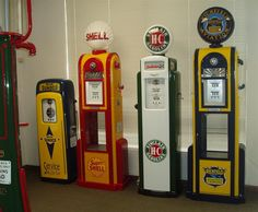 How gas pumps use to look like and it took the numbers to go round and round forever!!!!!!  Gas was under 25 cents a gallon....