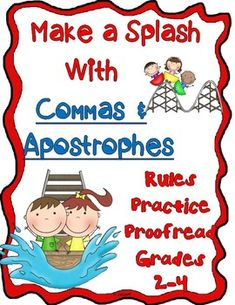 Make A Splash with Commas and Apostrophes Gr. 2-4 | TpT Teaching Language Arts, English Language Arts, Art Classroom, Classroom Activities, Fourth Grade, Second Grade, Differentiated Instruction, Elementary Schools, Elementary Teacher