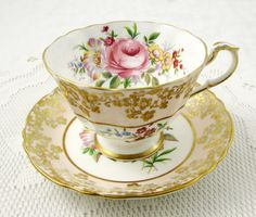Paragon Tea Cup and Saucer with Gold Decor and Flowers, Vintage Tea Cup, Bone China