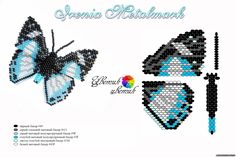 Beaded Butterfly PATTERN Marina Biryukova blue white black...