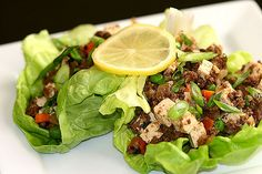 Bison Tofu Lettuce Wraps. There are mushrooms in there.