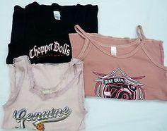 LOT set of 3 sleeveless tee shirts top strap tank Chopper Dolls Harley Davidson L
