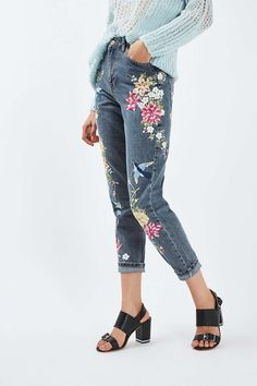 Topshop Garden Embroidered Mom Jeans available at High Rise White Jeans, White High Waisted Jeans, High Waist Jeans, Embroidered Mom Jeans, Embroidered Clothes, Multi Coloured Jeans, Floral Denim, Topshop Jeans, Skinny Jeans