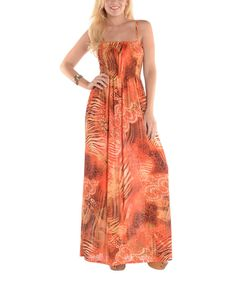 Look at this Shoreline Orange Jungle Maxi Dress on #zulily today!