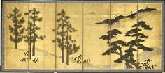 """""""Pine Trees and Chinese Black Pines"""" Muromachi to Momoyama period, possibly mid-16th century (Japan)"""