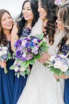 Purple, Navy Blue, Greenery, Blue Wedding Bouquet Bridal Combo - Bride Bouquet Bridesmaid
