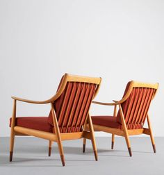 Peter Hvidt and Orla Mølgaard Nielsen; Birch and Teak Lounge Chairs, 1960s.