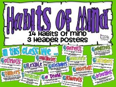 Habits of Mind are skills students need to be successful in school and in life! These colorful posters identify 14 habits of Mind. Great for life skill lessons and classroom displays. Classroom Norms, Classroom Displays, Classroom Decor, Life Skills Lessons, Habits Of Mind, Common Core Writing, Memoir Writing, Conscious Discipline, Thing 1