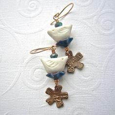 Porcelain bird earrings, Bronze earrings, enameled earrings, mixed media earrings, blue and white earrings