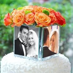 Glass Photo Cube Vase from Wedding Favors Unlimited