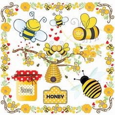 Bees Clip Art-Bumble Bee Beehive Clip Art-Buzzy Bee by SmartPrint Bee Clipart, Paper Clip Art, Bee Images, Buzzy Bee, Bee Party, Pintura Country, Bee Crafts, Beekeeping, Worker Bee