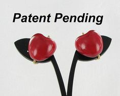 Red Hand Fired Enamel APPLE clip back by vintagejewelrylane, $12.99