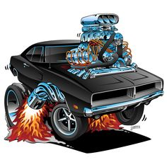 69 Charger muscle car hot rod cartoon illustration popping a wheelie huge hemi engine lots of chrome flaming exhaust smoking tires. Rat Rods, Cool Car Drawings, Hemi Engine, Automotive Art, American Muscle Cars, Dodge Charger, Art Cars, Martial, Cool Cars
