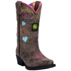 John Deere® Kid's Heart and Scroll Snip Toe Western Boots