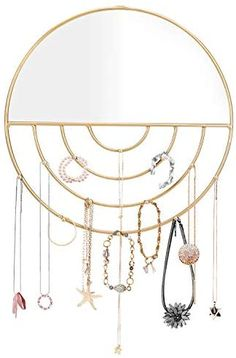 Amazon.com: Jewelry Organizer Wall Mounted with Hooks and Mirror for Necklaces,Bracelets,Earrings,Rings : Clothing, Shoes & Jewelry
