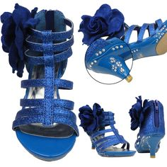 Girls Evening High Heel Dress Sandals w/ Strappy Glitter and Fabric Flower Sz 9-4 Blue, Dress Shoes, perfect for special occasion and wedding and pageant