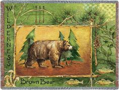 $49.99 Brown Bear Throw with a brown bear standing staunch and proud within a rustic frame. It is dotted with fish, pine tree branches, leaves and mushrooms.  http://www.delectably-yours.com/Cabin-Lodge-Throw-Blankets-C60.aspx