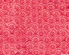Floral Scallops Batik - Red and Watermelon Pink (equilter)