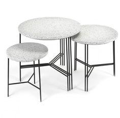 Serax bijzettafeltjes terrazzo zwart/grijs  SHOP ONLINE: https://www.purelifestyle.be/home-office/meubels/athome/bijzettafeltjes/serax-bijzettafeltjes-terrazzo-zwart-grijs.html
