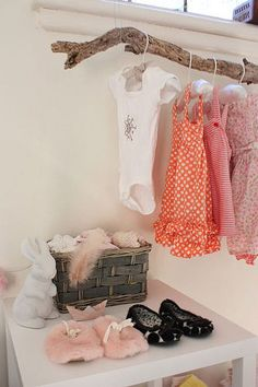 Clothes hanger rack display tree branches 15 ideas for 2019 Clothes Hanger Rack, Clothes Rail, Hanging Clothes, Clothes Storage, Hanging Shoes, Girl Nursery, Girl Room, Child's Room, Wood Nursery