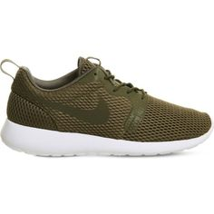 NIKE Roshe One Hyperfuse mesh and textile trainers (150 CAD) ❤ liked on Polyvore featuring shoes, sneakers, medium olive breathe, nike sneakers, nike, olive shoes, round toe shoes and round toe sneakers