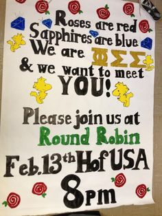 Phi Sigma Sigma/Epsilon Kappa recruitment banner!