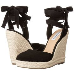 Steve Madden Barre (Black Suede) Women's Shoes ($81) ❤ liked on Polyvore featuring shoes, ankle wrap espadrille, black wedge shoes, black lace up shoes, espadrilles shoes and black ankle strap shoes