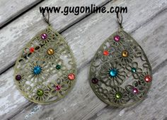 Multi Color Crystals on Gold Flowered Earrings www.gugonline.com $24.95