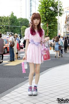 Magenta-Tipped Hair & Frayed Resale Dress