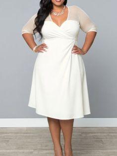 Gorgeous Elegant Sexy Mesh V Neck Knee Length A Line Party, Church or Wedding Dress PLUS SIZE Black or White L-4XL