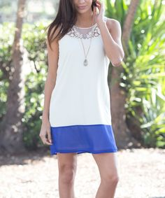Pinkblush Blue & White color block Crochet Shift Dress on #zulily