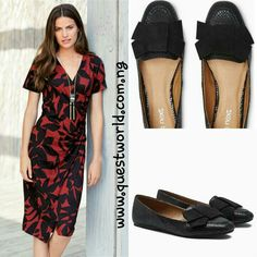 Printed Drape Dress Next size 10 #9000 Next Black Bow Loafers size 6/39 #12000 www.questworld.com.ng Enter QW10% for 10% off orders above #10000