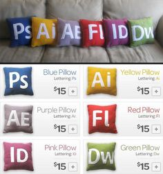 Now designers can rest their heads on Photoshop, Illustrator, After Effects, Flash, InDesign or Dreamweaver pillows.