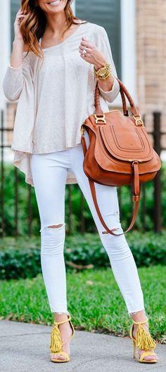 Wide Tamborine Tee, Skinny pants,Brown Bag, Yellow Fringe Sandals