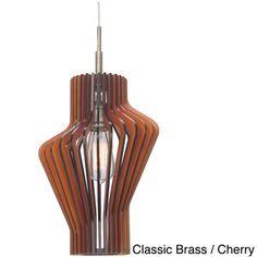 Canopy 1-light Escher Wood Slat Mini Pendant | Overstock.com Shopping - Great Deals on Woodbridge Lighting Chandeliers & Pendants