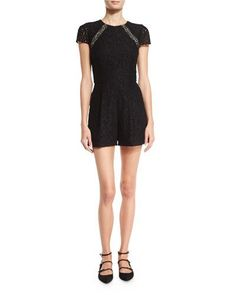 ALICE AND OLIVIA Rozzi Short-Sleeve Lace Romper. #aliceandolivia #cloth #