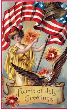Vintage postcards for the of July - Click Americana Happy 4 Of July, Fourth Of July, Happy Friday, Vintage Cards, Vintage Postcards, Vintage Images, Vintage Ephemera, Vintage Pictures, Unique Vintage