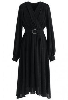 Can't Let Go Bubble Sleeves Wrap Dress in Black