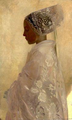 white on white.   Gaston La Touche FRANCÊS 1854-1913-A Maiden em contemplação (por BoFransson)