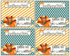 Personalized Thanksgiving Bag Topper  Gobble by Pinkowlpartydesign